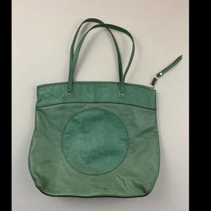 Coach Women's Green Jade Laura Leather Tote Bag